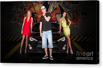 Group Of Young People Beside Black Modern Car Canvas Print by Jorgo Photography - Wall Art Gallery