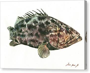 Saltwater Fishing Canvas Print - Grouper Fish by Juan Bosco