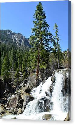 Grover Hot Springs Waterfall Canvas Print by Mindy Linford