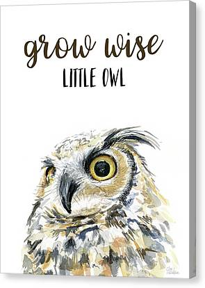 Grow Wise Little Owl Canvas Print