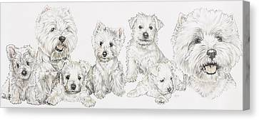 Growing Up West Highland White Terrier Canvas Print by Barbara Keith