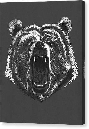 Growling Canvas Print - Growling Bear by Masha Batkova