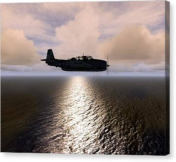Canvas Print featuring the digital art Grumman Tbf 01 by Mike Ray