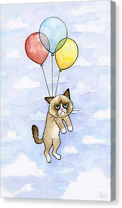 Grumpy Cat And Balloons Canvas Print by Olga Shvartsur