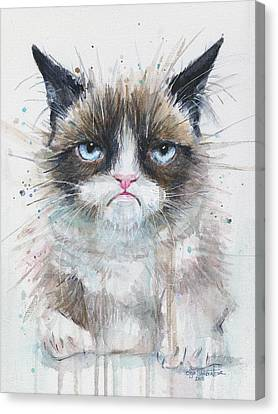 Watercolor Pet Portraits Canvas Print - Grumpy Cat Watercolor Painting  by Olga Shvartsur