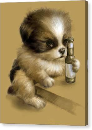 Grumpy Puppy Needs A Beer Canvas Print by Vanessa Bates