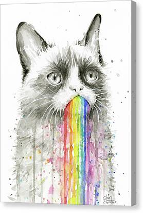Grumpy Rainbow Cat Canvas Print by Olga Shvartsur