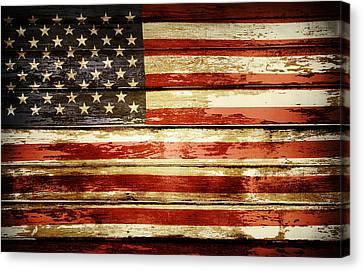 Grunge American Flag Canvas Print by Les Cunliffe