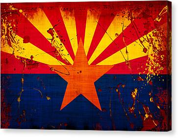 Grunge And Splatter Arizona Flag Canvas Print by David G Paul