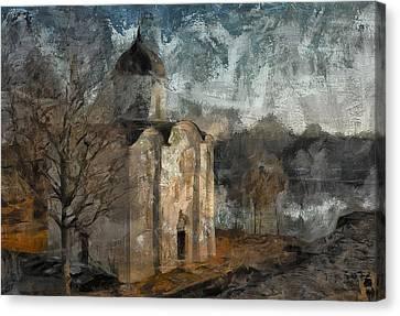 Grunge Church On River Canvas Print by Yury Malkov