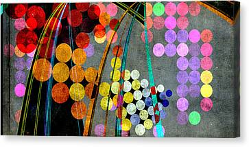 Canvas Print featuring the digital art Grunge City Lights by Fran Riley