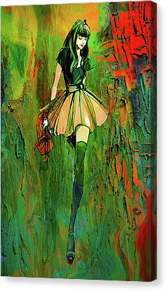 Canvas Print featuring the digital art Grunge Doll by Greg Sharpe