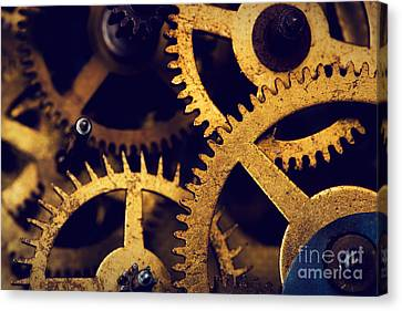 Grunge Gear Cog Wheels Background Canvas Print