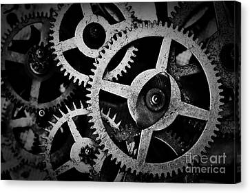 Grunge Gear, Cog Wheels Black And White Background Canvas Print