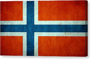 Grunge Norway Flag Canvas Print by Dan Sproul