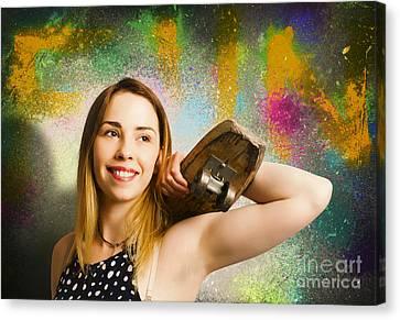 Grunge Skateboarding Girl On Graffiti Wall Canvas Print by Jorgo Photography - Wall Art Gallery