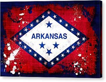 Grunge Style Arkansas Flag Canvas Print by David G Paul