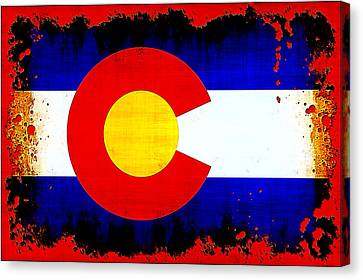 Grunge Style Colorado Flag Canvas Print by David G Paul