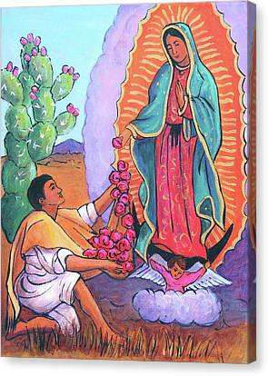 Our Lady Of Guadalupe Canvas Print - Guadalupe And Juan Diego by Candy Mayer
