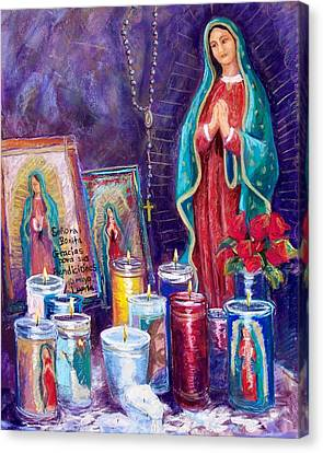 Our Lady Of Guadalupe Canvas Print - Guadalupe Y Las Velas Candles by Candy Mayer