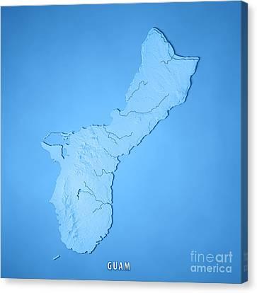 Guam Island 3d Render Topographic Map Blue Canvas Print