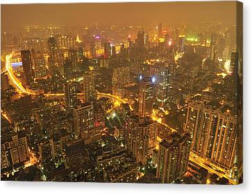 Guangzhou Skyline At Night Canvas Print by Huang Xin