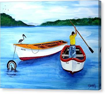 Guanica Fisherman Canvas Print by Gloria E Barreto-Rodriguez