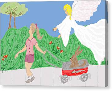 Guardian Angel Canvas Print - Guardian Angel And The Child by Rosalie Scanlon