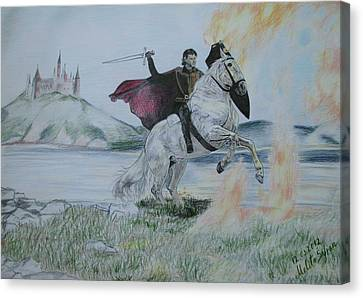 Canvas Print featuring the drawing Guardian Of The Castle by Melita Safran