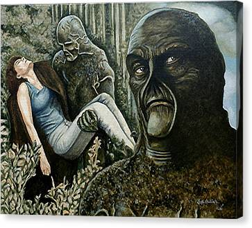 Canvas Print featuring the painting Guardian Of The Swamp by Al  Molina
