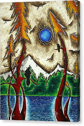 Guardians Of The Wild Original Madart Painting Canvas Print by Megan Duncanson