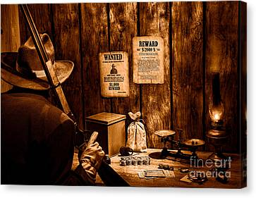 Guarding The Payroll - Sepia Canvas Print by Olivier Le Queinec