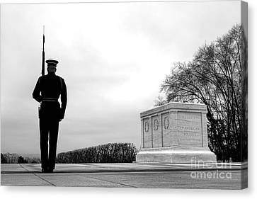 Arlington National Cemetery Canvas Print - Guarding The Unknown Soldier by Olivier Le Queinec