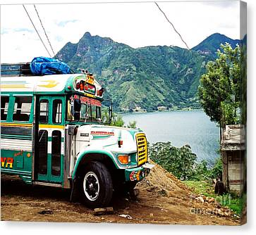 Guatemalan Chicken Bus Canvas Print by Trude Janssen
