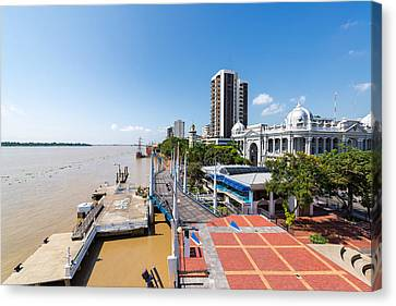 Guayaquil Waterfront Wide Angle Canvas Print by Jess Kraft