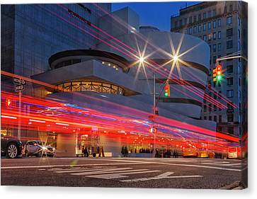 Canvas Print featuring the photograph Guggenheim Museum Nyc Light Streaks by Susan Candelario