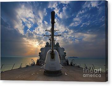Guided-missile Destroyer Uss Higgins Canvas Print by Stocktrek Images