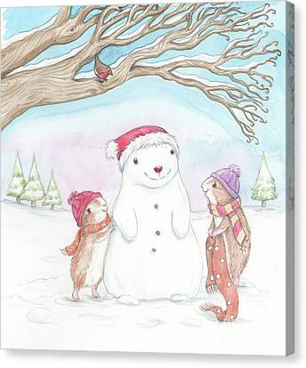 Christmas Eve Canvas Print - Guinea Pig Babies In The Snow by Joanna Scott