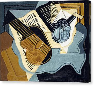 Guitar And Fruit Bowl Canvas Print by Juan Gris
