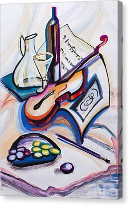 Decanters Canvas Print - Guitar And Grapes by Krimzoya Kruiminskaia