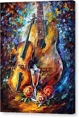 Guitar And Violin Canvas Print by Leonid Afremov