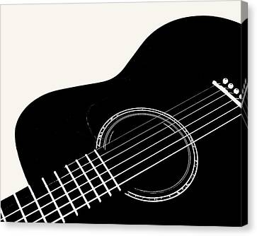 Canvas Print featuring the digital art Guitar, Black And White,  by Jana Russon