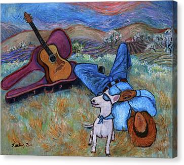 Guitar Doggy And Me In Wine Country Canvas Print
