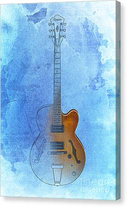 Guitar Ibanez Blue Background Canvas Print by Pablo Franchi