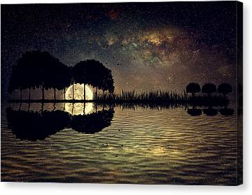 Guitar Island Moonlight Canvas Print by Psycho Shadow