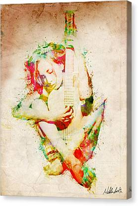 Guitar Lovers Embrace Canvas Print by Nikki Smith