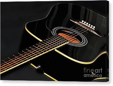 Canvas Print featuring the photograph Guitar Low Key By Kaye Menner by Kaye Menner