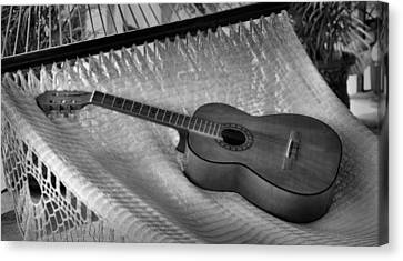 Canvas Print featuring the photograph Guitar Monochrome by Jim Walls PhotoArtist