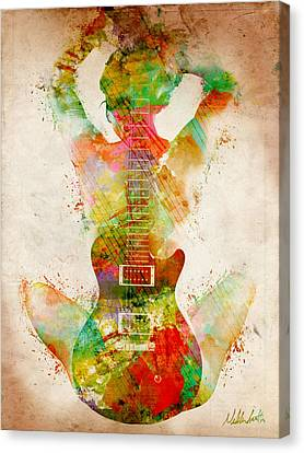 Woman Nude Canvas Print - Guitar Siren by Nikki Smith