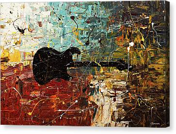 Canvas Print featuring the painting Guitar Story by Carmen Guedez